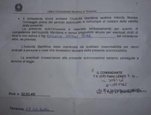 Dokument der Coast Guard von Terracina Rückseite