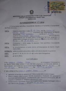Dokument der Coast Guard von Terracina Vorderseite