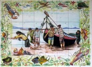 Azulejo mit Fischern und ihrem Boot