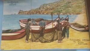 Azulejo Fischer arbeiten an ihren Netzen