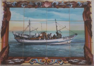 "Azulejo mit Fischerboot ""Novo Pombo"""